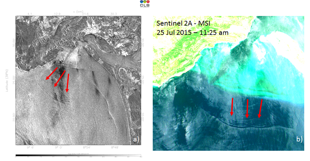 Figure 1 - Satellite imaging detecting internal waves from Terra SAR-X satellite (a) and Sentinel 2A (b)